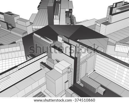 Urban City Of Skyscrapers Vector 328 - stock vector