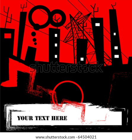 urban city scene, background for text - stock vector