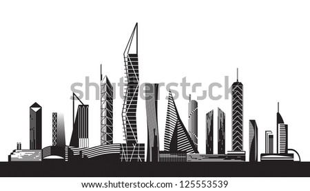 Urban cityscape by day - vector illustration
