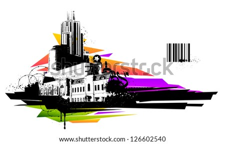 Urban design. Dirty grunge technique. EPS 8 vector illustration. - stock vector