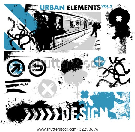 urban design elements / 2 / blue - stock vector