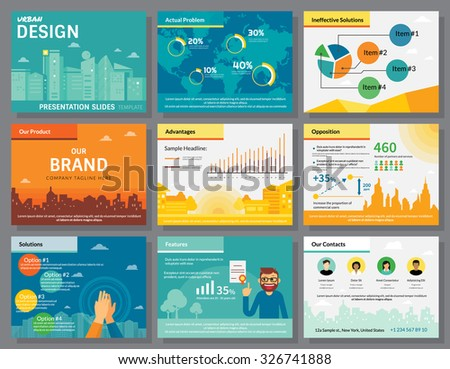 Urban design of infographics presentation slides template with flat illustrations of city buildings, world map, diagrams and circle percentage chart - stock vector