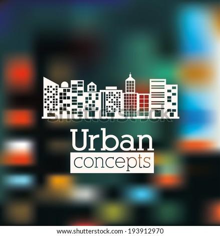 Urban design over blur background, vector illustration - stock vector