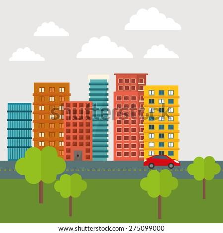 Urban design over white background, vector illustration. - stock vector