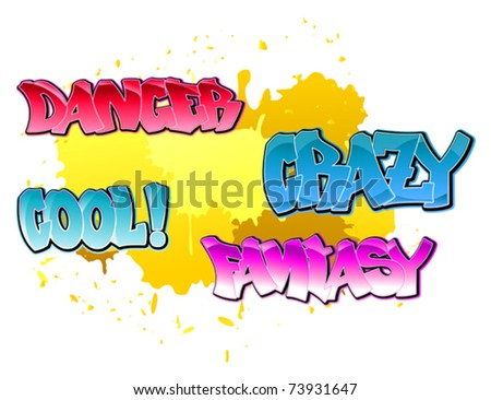 Urban graffiti elements for design on blobs background. jpeg version also available in gallery - stock vector