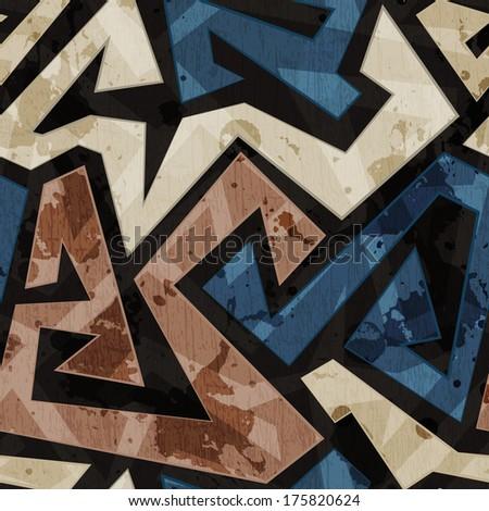urban graffiti seamless texture with grunge effect - stock vector