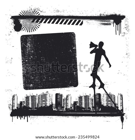 urban grunge scene with actor on stilts and message copy space - stock vector