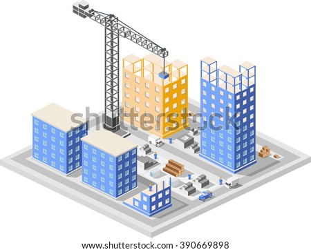 Urban industrial isometric 3d architectural flat plan. Three-dimensional  crane drawings and construction plans. Skyscraper building structure  map.  Business concept infographics.