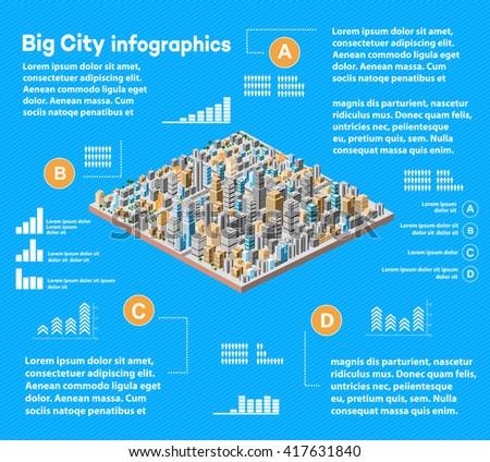 Urban infographics with isometric city - stock vector