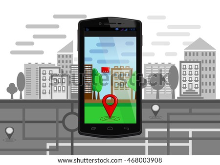 Urban landscape and map with elements of augmented reality on the screen of smartphone. Geo location service mobile app. Navigation map, pin marker, modern digital device. Vector illustration