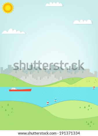 urban landscape and sea - stock vector