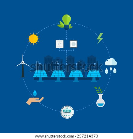 Urban landscape. Flat design vector concept illustration with icons of ecology, environment, eco friendly energy and and green technology. Concept of green building and clean energy - stock vector