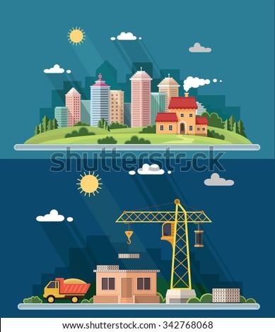 Urban landscape illustration set. big city, Construction site, building a house. Vector flat illustration - stock vector