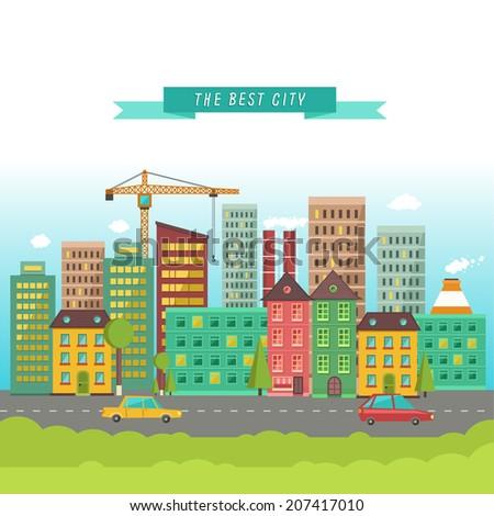 Urban landscape in flat design - stock vector