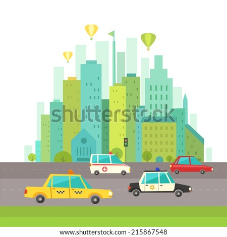 Urban landscape in flat design. City transport including taxi cab, ambulance, police. Vector illustration in modern colors.   - stock vector