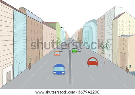 Urban landscape in flat design style, vector illustration. Modern city street with buildings, cars, skyscrapers and trees perspective - stock vector