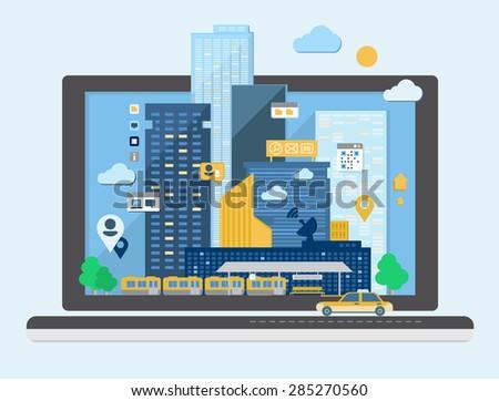 Urban landscape in flat design vector - stock vector