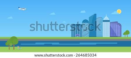 Urban landscape scene long banner with modern skyscrapers  - stock vector