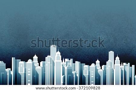 urban landscape. skyscrapers in a big city. vector illustration - stock vector