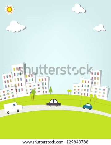 urban landscape. vector applique. - stock vector