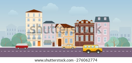 Urban landscape with buildings, streets and traffic cars - stock vector