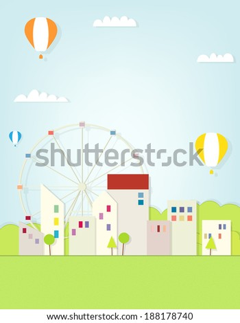 urban landscape with ferris wheel - stock vector