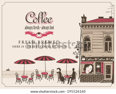 urban landscape with street cafes and couple in love - stock vector