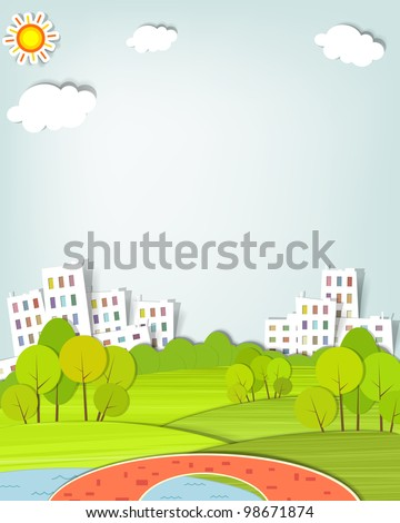 urban landscape with trees, lake and bridge - stock vector