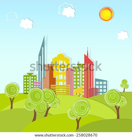 Urban landscape with trees. Vector illustration, modern template design. - stock vector