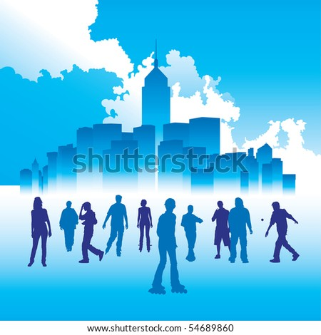 Urban life. The city on the background is Hong Kong. - stock vector