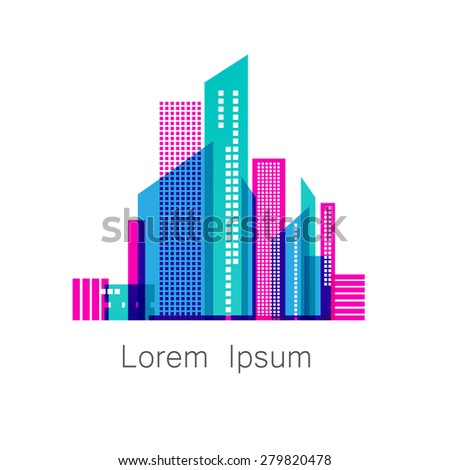 Urban metropolis - template logo for a construction company , the sale or lease of houses , apartments, offices, and so on. Vector sign. - stock vector