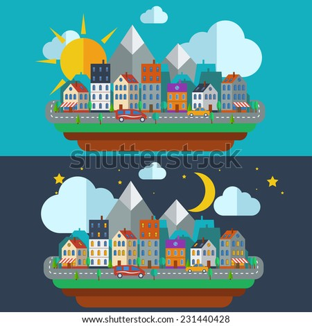 Urban Night and day city landscape. Small town flat design style, vector illustration. Includes small business, buildings, trees, street with walking.  - stock vector