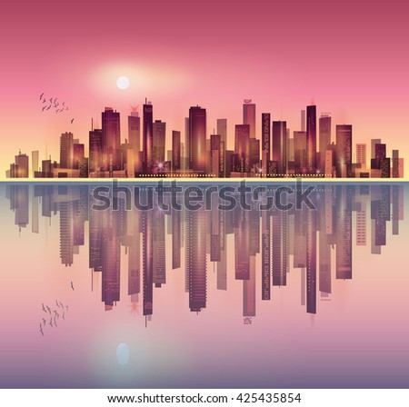 Urban night city landscape in moonlight or sunset, with reflection in water  - stock vector