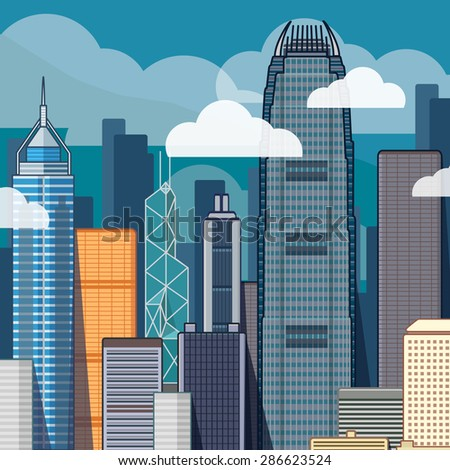 urban panorama of Hong Kong  - stock vector