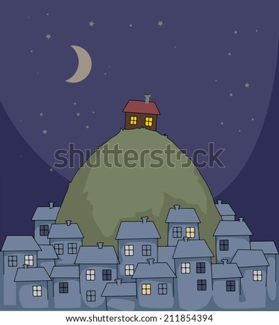 Urban scene at night, with one unique house on a hill, vector illustration