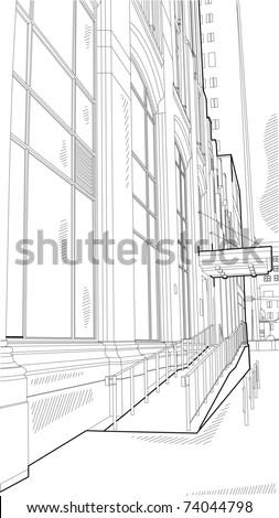urban scene sketch - stock vector