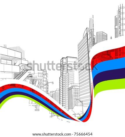 urban scene with a wavy stripe - stock vector