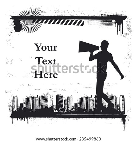 urban scene with actor on stilts and message - stock vector