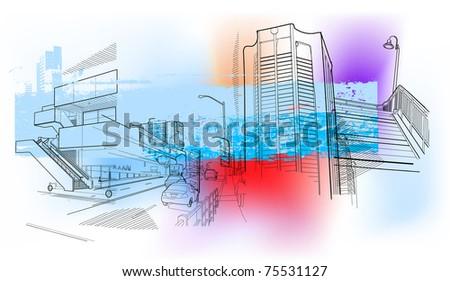 urban scenery - stock vector