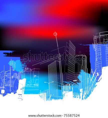 urban scenery collage - stock vector