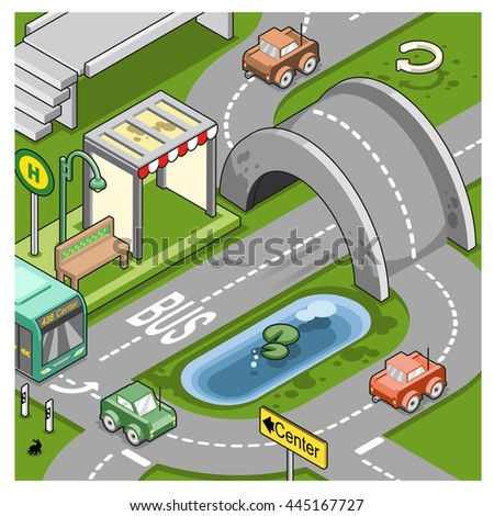 Urban scenery with cars driving on road, bridge and bus stop (isometric illustration)