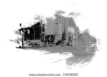 urban scenics sketch - stock vector