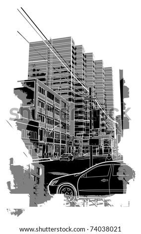 urban scenics sketch - stock vector