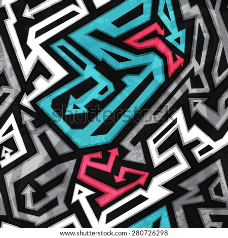 urban seamless pattern with grunge effect  - stock vector