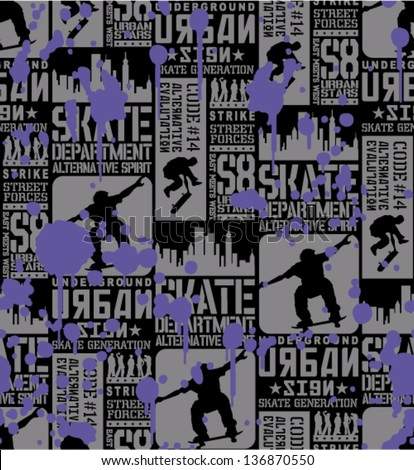 Urban Skateboarding - Vector seamless pattern - stock vector
