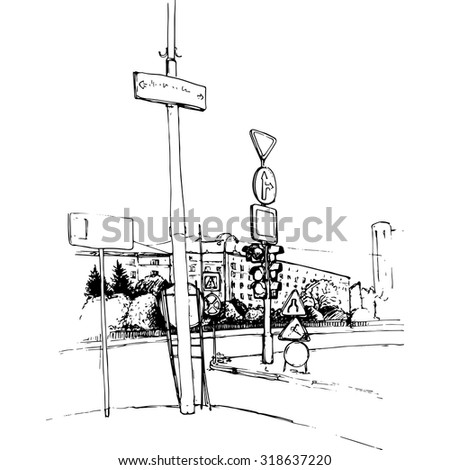 urban sketch, city street with buildings, cars and traffic lights, color hand drawn vector illustration - stock vector