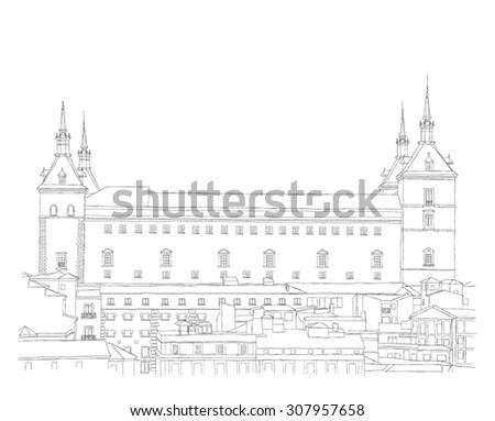 urban sketch of old town of Toledo, Spain  - stock vector