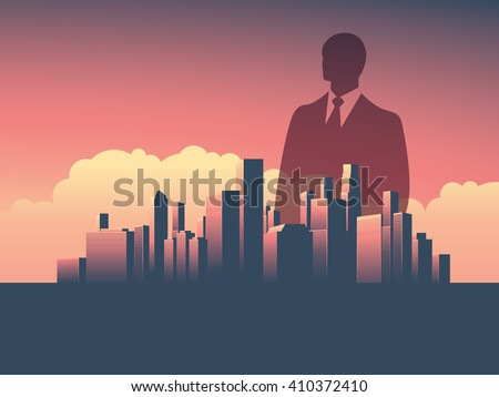 Urban skyline cityscape with businessman standing over. Double exposure vector illustration landscape background. Symbol of corporate world, banks and business tycoons. Eps10 vector illustration. - stock vector