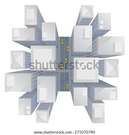 urban skyscrapers bird's eye view, perspective - abstract vector illustration - stock vector