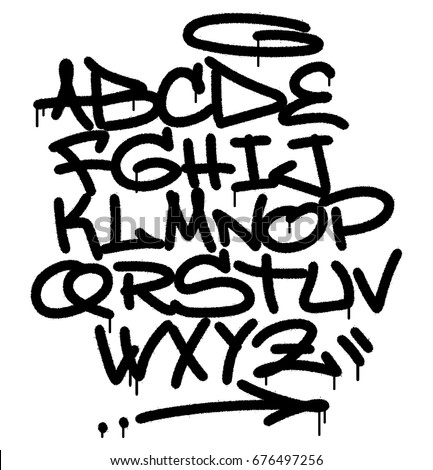 Urban Spray Graffiti Font Hand Lettering Typography White Background